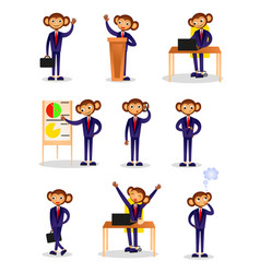 Set monkey businessman in different daily vector