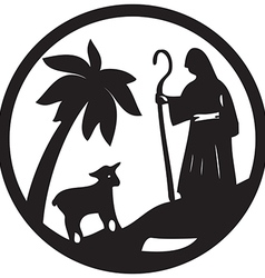Shepherd and Sheep silhouette icon black on white vector