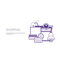 shopping commerce purchase online technology vector image