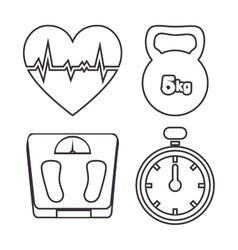 silhouette heart weight barbell stopwatch vector image