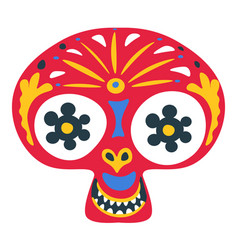Skull with ornaments and decor mexican day the vector