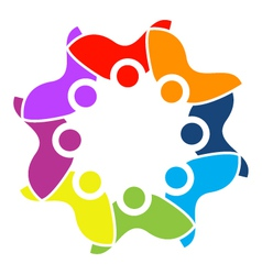 Teamwork cultural people logo vector image