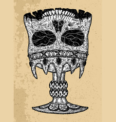 textured black and white scary skull vector image