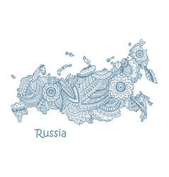 textured map of russia hand drawn ethno vector image