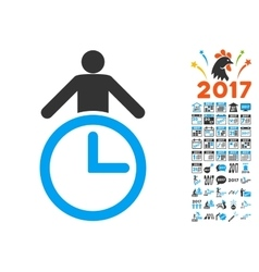 Time Manager Icon With 2017 Year Bonus Symbols vector image