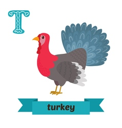 Turkey T letter Cute children animal alphabet in vector image