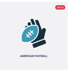 two color american football player hand holding vector image