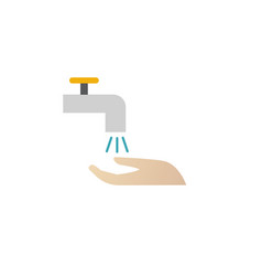 Wash hands under a tap with water care for vector