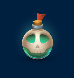 Witchcraft glass bottle with skull poison potion vector