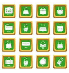 Woman bag types icons set green square vector