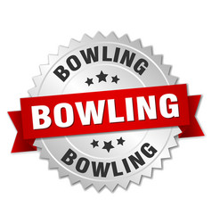 bowling round isolated silver badge vector image vector image