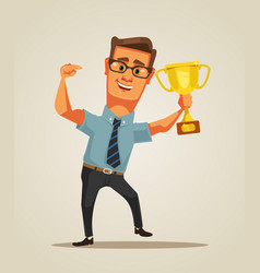happy winner smiling businessman character vector image vector image