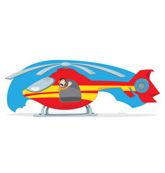 red and yellow helicopter and pilot cheering vector image vector image