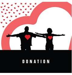 donation with heart and couple in color vector image