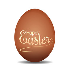 easter egg with holiday lettering happy easter vector image