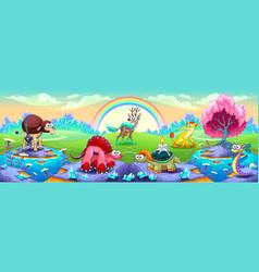 fantasy animals in a landscape of dreams vector image vector image