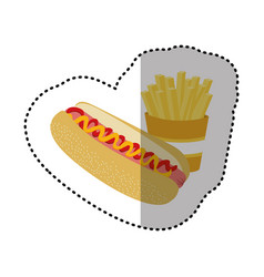 hot dog and fries french icon vector image vector image