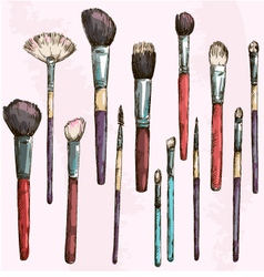 Make up brushes collection Fashion vector image