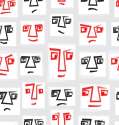 Original Seamless Pattern With Faces EPS10 vector image vector image