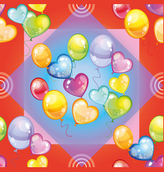 Pattern with colorful balloons on red background vector
