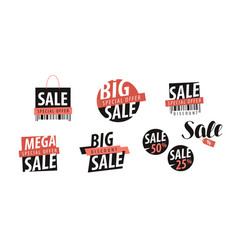 Sale logo or label shopping closeout discount vector