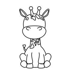 cute giraffe character icon vector image