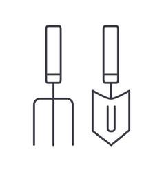 forks mini trowel line icon sig vector image