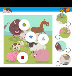 match pieces game with farm animals vector image vector image
