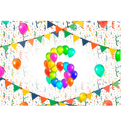 number six made up from colorful balloons on white vector image vector image