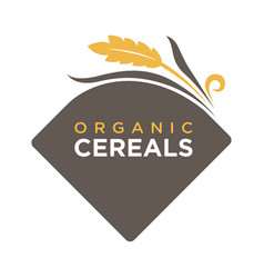 organic cereals logo ears of wheat symbol isolated vector image vector image