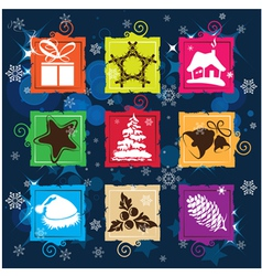Set Christmas icon background vector image vector image