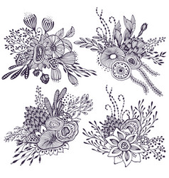 set of four beautiful fantasy bouquets with hand vector image