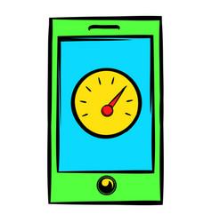 smartphone with clock icon icon cartoon vector image vector image