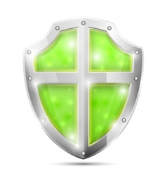 Glossy Magic Green Shield Icon vector image vector image