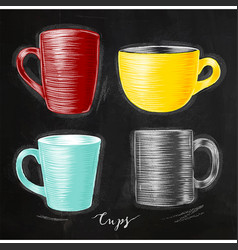 set cups chalk vector image vector image