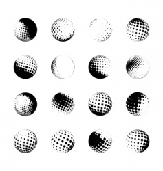 set of halftone spheres vector image vector image