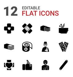 12 bandage icons vector image