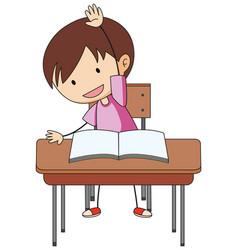 A boy doing homework doodle cartoon character vector