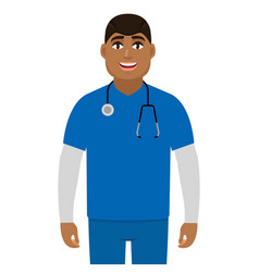 african american black doctor man with vector image