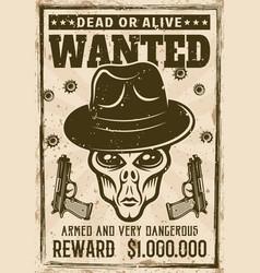 Alien head in gangster fedora hat wanted poster vector