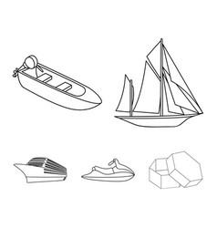 Ancient sailboat motor boat scooter marine vector