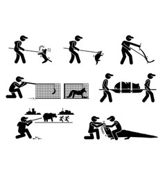 Animal control service and equipments stick vector