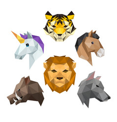 Animal head with polygonal geometric style vector