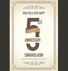 anniversary retro vintage background 5 years vector image
