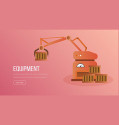 automated factory equipment landing page vector image