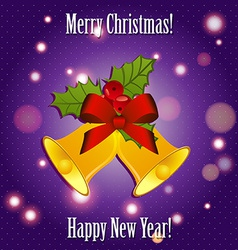 Bells with ribbon and mistletoe New Year greeting vector