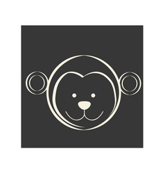 Black square picture of monkey animal vector