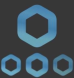 Blue line hexagonal logo design set vector