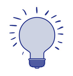 Blue silhouette of light bulb idea icon vector