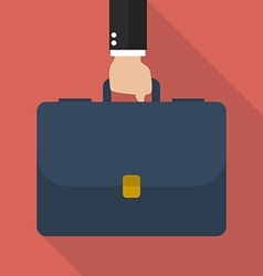 Businessman hand holding briefcase vector image